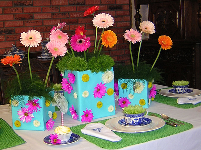 Gift Boxes Centerpieces Gift Wrapped Planter Box