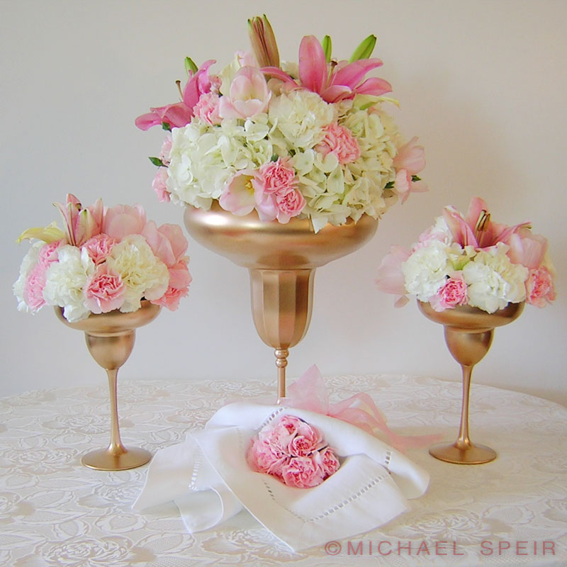Gold Daiquiri Vase Centerpiece Michael Speir Style