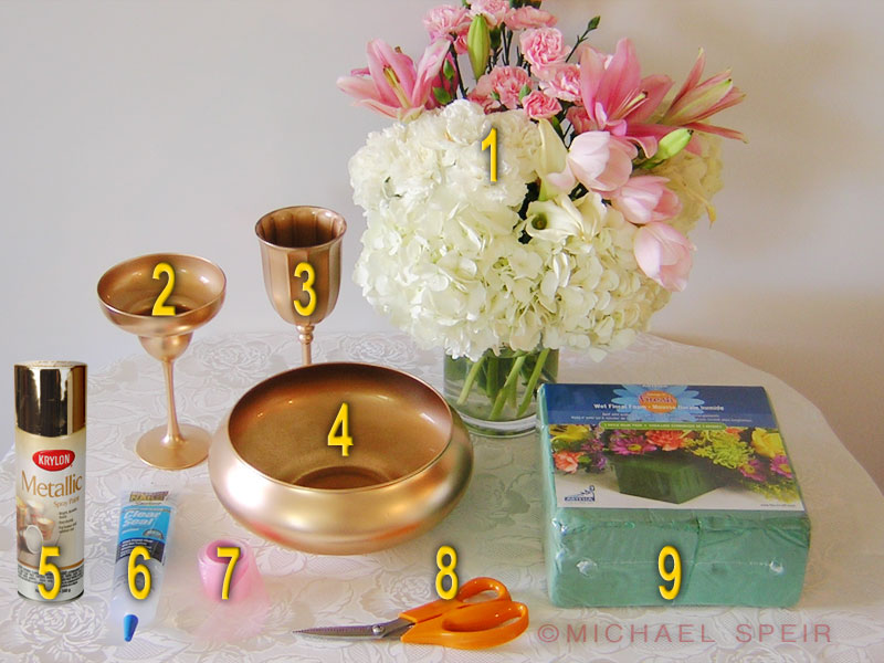 Gold Centerpiece Kit : Gold daiquiri vase centerpiece michael speir style