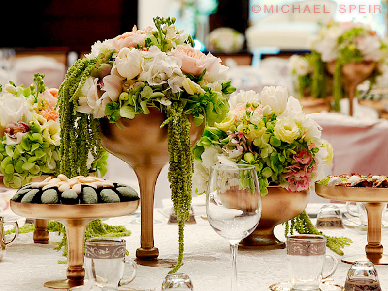 Gilded Vase Ensemble Centerpiece By Michael Speir Design Michael